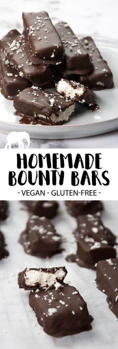 Vegan and gluten-free homemade Bounty Bars #vegan #glutenfree #bounty #dessert #sweet #coconut via @elephantasticv