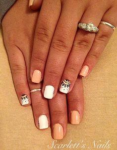 Peach black and white polka dot chandelier lace spring summer cnd shellac gel polish nails #scarlettsnails