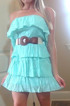 NEW MINT RUFFLE POLKA DOT COWGIRL Tube STRAPLESS SHORT MINI COWBOY BELT DRESS M #new #Sundress #Casual