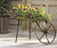 Rustic Wheelbarrow Planter countrydoor.com