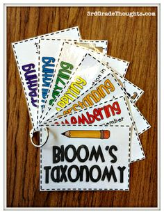 IDEA 11 a) These Bloom's Taxonomy flash cards would be good for teacher and student use. The teacher could easily refer to them while writing lesson plans, and students could use them to practice generating questions. Teaching Strategies, Teaching Tips, Teaching Reading, Guided Reading, Differentiation Strategies, Instructional Strategies, Differentiated Instruction, Writing Lesson Plans, Writing Lessons