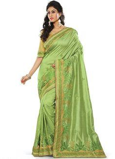 Vasu Saree Medium Sea Green Brocade Silk Wedding Wear Saree Online Silk Sarees on Shimply.com