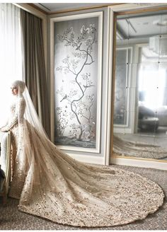 Berfin KIZILTEPE Muslim Wedding Gown, Muslimah Wedding Dress, Modest Wedding Gowns, Muslim Wedding Dresses, Weeding Dress, Muslim Brides, Dream Wedding Dresses, Wedding Dress Sleeves, Bridal Dresses