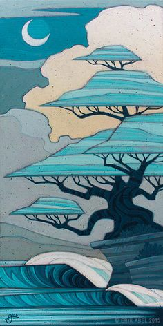 """Bonsai Bliss"" © Erik Abel 2015 12"" x 24""""  Acrylic, marker, colored pencil on wood. <br>Inquire for pricing"