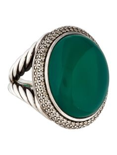 Sterling silver David Yurman split shank cocktail ring with oval green onyx cabochon at center surrounded by pavé diamonds. Includes jewelry pouch.