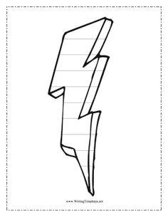 lightning bolt template large diy printables pinterest