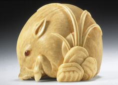 "Wild Boar netsuke by Kaigyokusai Masatsugu (Osaka, 1813–1892), mid- to late 19th century. Ivory with sumi, and inlays, 1 5/16 x 1 1/4 x 1 3/16"" (3.4 x 3.1 x 3.0 cm)"