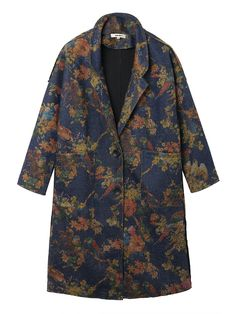 Sale 12% (62.89$) - Plus Size Retro Flower Print Long Woolen Coat
