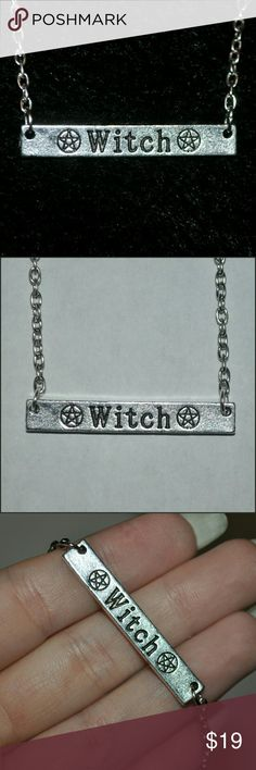 ⭐ Witch Engraved Bar Necklace ⭐ Awesome Necklace!!! ❤ tags: gothic witchy wicca magical magic goth spooky spook creepy creep pentagram pentagrams stars star bars metal spell spells new nwot bnwot amazing rebel unisex unique cool badass jewelry engraved ahs horror alternative dark supreme boo symbols symbol symbolism Jewelry Necklaces