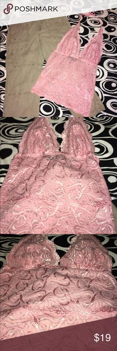 💕NEW BEBE PINK LACE HALTER TOP💕PLUNGING💕SEXY💕M 💕LOVE THIS AWESOME ALL LACE HALTER TOP FROM BEBE💕PRETTY & FEMININE PINKY PEACHY HUE💕STRETCHY LACE FITS SNUG TO BODY💕 bebe Tops Camisoles
