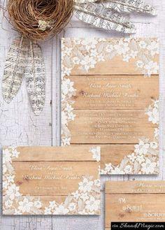 Items similar to Rustic Wedding Invitation - Wood and Lace Wedding Invitation {Washington design} on Etsy Wood Invitation, Rustic Invitations, Printable Wedding Invitations, Wedding Stationary, Invitation Design, Invitation Ideas, Invite, Wedding Cards, Diy Wedding