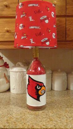1.75 Lt Recycled Liquor Bottle Lamp (Univ. of Louisville Logos & Shade) #Stolichnaya