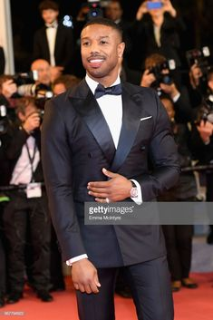 """The New Fashion Leader of The Day : The quintessence of masculine elegance ! Michael B Jordan aka Black Panther is all smiles at the screening of """"Farenheit during the annual Cannes Film Festival in Cannes, France. Michael B Jordan, Fine Black Men, Black Boys, Fine Men, Black Man, Black Men In Suits, Cannes Film Festival, Logo Coca, Palais Des Festivals"""