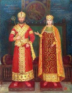"Tsar (emperor) Konstantin Assen ""the quiet"" and Tsaritsa (empress) Irina. The Tsar ruled 1257-1277. Painting by Anton Mitov"