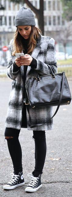Black And White Plaid Fuzzy Coat