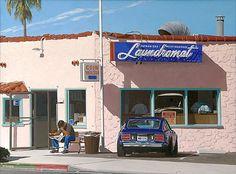 "M. Ward - ""Waiting for the Laundry"" (Second Version); 2007; Acrylic on canvas  [Laundramat on Balboa Island, Newport Beach, CA]"