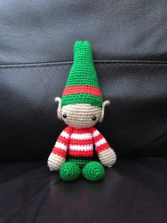 Crocheted amigurumi Elf on the Shelf