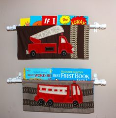 Hanging book shelf from crib bumpers.