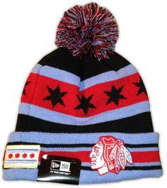 New Era CHICAGO BLACKHAWKS City Flag Winter Pom Knit Hat Cap in Hockey-NHL  71fa2c66cc4b