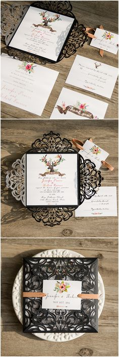 boho themed rustic laser cut wedding invitations with FREE RSVP Cards