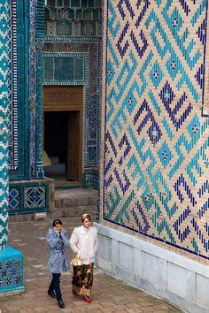 Samarkand | UZBEKISTAN Handmade tiles can be colour coordinated and customized re. shape, texture, pattern, etc. by ceramic design studios