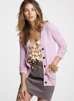 lavendar cardi + cream embellished top + grey on bottom