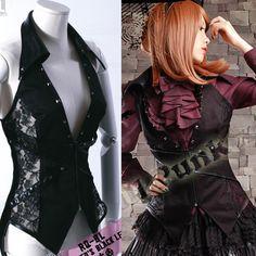 Trendy Women Black Fishnet Punk Rockabilly Gothic Corset Dress Vests