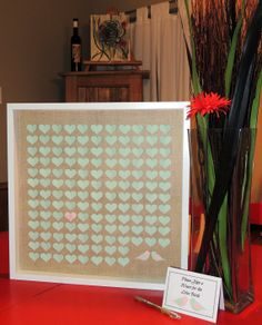 Unique Guest Book Alternative - Large Wedding - Paper Hearts with Love Birds - Personalized & Framed