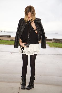 Styling My Life: White Lace Black Leather