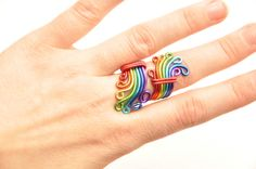 Rainbow wire wrapped ring, Adjustable ring,Gay pride, Autism awareness £10.00
