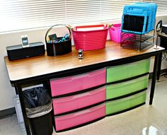 organize ipads with tray and guided math and reading in shelving underneath