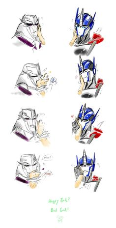 What the heck, did Megatron bite the hand then kiss it?? Optimus is cute tho!