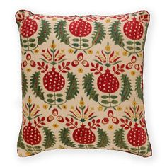 "Madeline Weinrib: ""Honey"" Hand  Embroidered Suzani Pillow"
