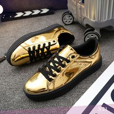 US $21 Luxury Brand Mens Hip Hop Jogging Shoes Shinning Patent Leather Creepers Shoes Street Style Punk Gothic Swag Shoes Golden Silver