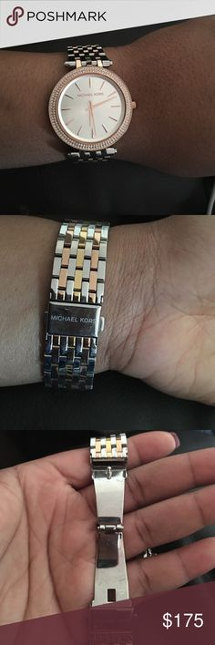 Michael Kors Tri-Tone Watch Authentic; Lightly used; No box; No additional links Michael Kors Jewelry Bracelets