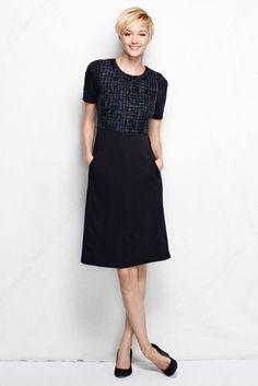Women's Knit Woven Panel Welt Pocket Sheath Dress from Lands' End
