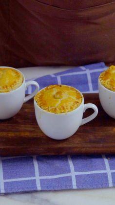 Empada na xícara, uma ótima ideia de lanche gostoso e rápido.