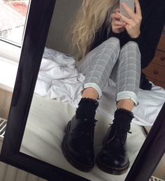 checked pants/ trousers dr martens laced socks  blond  black sweater