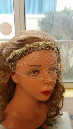 9c6f513a16a74 Beautiful Wedding Headband for Bride! With Short veil attached about 6 - 8  long