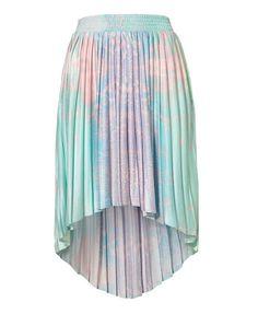 High Low Pleat Skirt in Galaxy Tie Dye