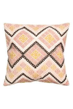 Patterned cushion cover - Dusky pink/Mustard yellow - Home All | H&M GB 1