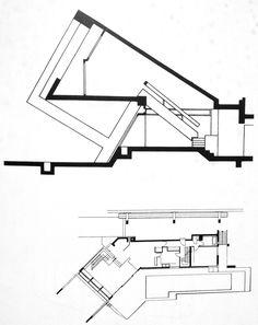 """Sección y planta """"Drusch house"""" / Versailles / Claude Parent y Paul Virilo / Container House Design, Small House Design, Modern House Design, Modern Architecture House, Concept Architecture, Architecture Design, A Frame House Plans, Casas Containers, Tiny House Cabin"""