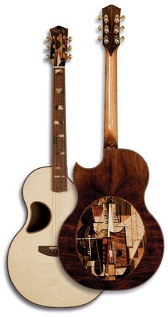 """The Picaso acoustic guitar by Matt McPherson.  McPherson Custom Shop has created some of the most beautiful, one-of-a kind guitars. """"The Picasso"""" followed with a smaller body style and over 425 pieces of hand cut and placed woods, referencing a 1912 Picasso painting called """"Guitar;"""" it is priced at $35,000. """""""