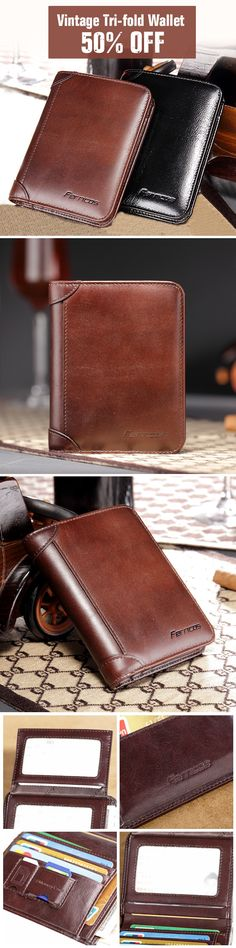 Leather Vintage Wallet: Tri-fold /Large Capacity #men #bag #fashion #style