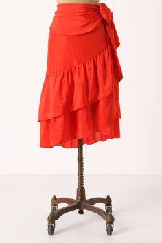 Anthropologie Flounced Wrap Skirt Sz L, Red Silk Ruffle Skirt, Moulinette Soeurs #MoulinetteSoeurs #WrapSarong