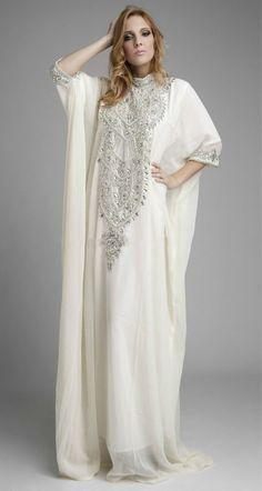 2013 New Kaftan High Collar Beaded White Chiffon Long Sleeve Maxi A-Line Abayas Wrap Dubai Arabic Muslim Wedding Dress