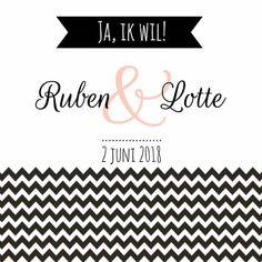 Zwartwit trouwkaartje met zigzag en tekst.   Maak je eerste kaart gratis op www.kaartje2go.nl  #zwartwit #handlettering #savethedate #trouwen #trouwkaart #kaart