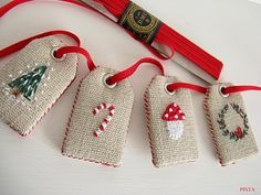 Cross Stitch labels Christmas