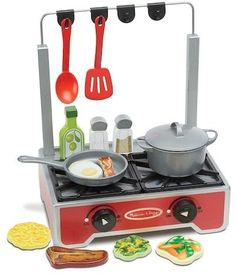 Melissa Doug Deluxe Wooden Cooktop Set With Wooden Play Food Durable Pot and Pan *** Check out the image by visiting the link. Cooktops, Wooden Play Food, Cook Up A Storm, Kitchen Stove, Melissa & Doug, Hanging Pots, How To Make Breakfast, Wood Construction, Pretend Play
