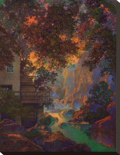 Old Oak Glen Fine-Art Print by Maxfield Parrish Stretched Canvas Prints, Framed Art Prints, New Hampshire, Maxfield Parrish, Inspirational Artwork, Beach Landscape, Fine Art, American Art, Les Oeuvres